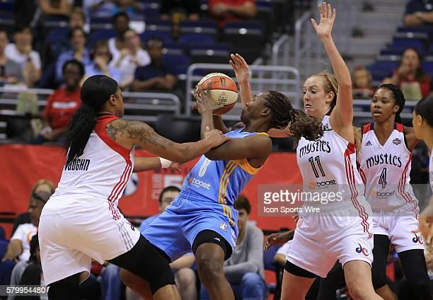 Washington Mystics forward Ally Malott and Washington Mystics center Kia Vaughn defend against Chicago Sky center Clarissa Dos Santos during a WNBA...