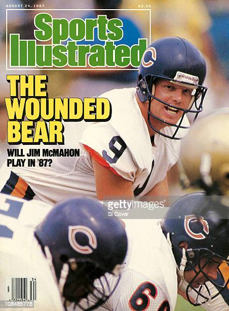 Football Chicago Bears QB Jim McMahon calling signals before snap during training camp at University of Wisconsin PlattevillePlatteville WI...