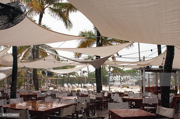 August 24 2012 Stormy weather hits Miami as Tropical Storm Isaac approaches Florida Nikki Beach Restaurant has empty seating on a Friday afternoon...