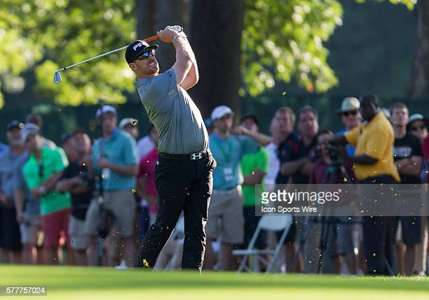 Hunter Mahan drives the ball from the fairway rough on 18 on his way to winning The Barclays with a 14 at Ridgewood Country Club Paramus NJ