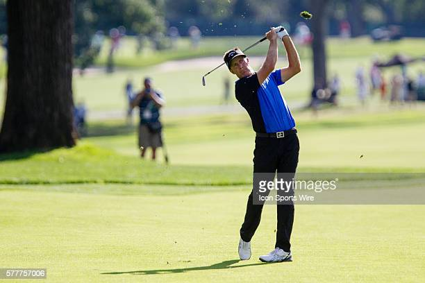 Stuart Appleby hits his approach shot from the fairway on 18 during the final round of The Barclays at Ridgewood Country Club in Paramus, NJ.
