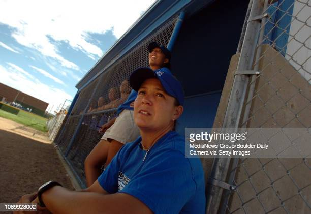 August 25 2005 / Broomfield / Broomfield High School Softball coach Tobin EchoHawk and assistant coach Vanessa Trujillo behind watch while the...