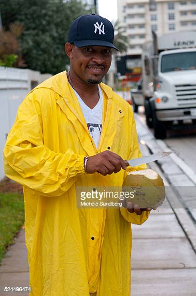 August 25 2012 KIRK McKOY Cuts Open A Coconut After He Removed It From A Tree Coconuts Being Removed From Trees As Florida Prepares For Hurricane...