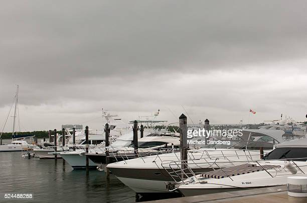 August 25 2012 Luxury Yachts Under Grey Skies At Haulover Beach Marina A View Before Hurricane Isaac Approaches South Florida