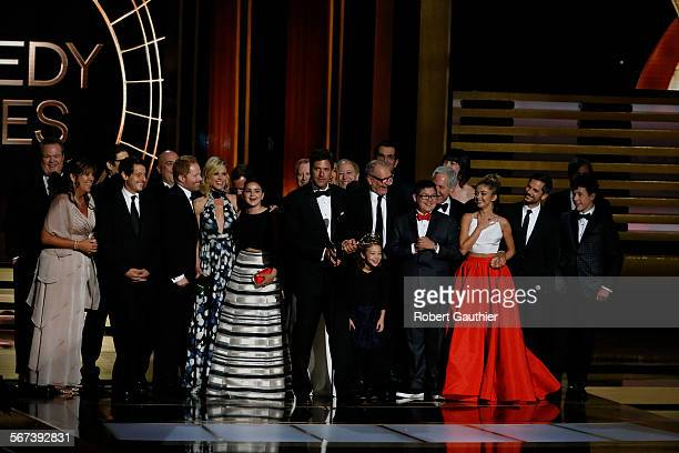 Cast of Modern Family won for Best Comedy series  during the show at the 66th Annual Primetime Emmy Awards at Nokia Theatre LA LIVE