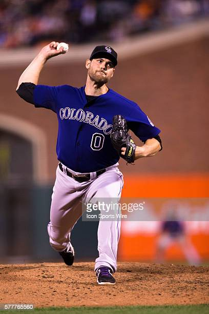 Colorado Rockies relief pitcher Adam Ottavino pitching in the 8th inning during the game between the San Francisco Giants and the Colorado Rockies at...
