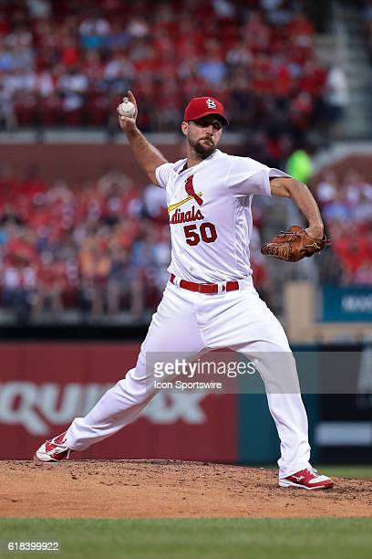 St Louis Cardinals Starting pitcher Adam Wainwright [3299] pitches during a baseball game between the New York Mets and the St Louis Cardinals at...