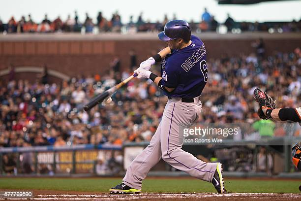 Colorado Rockies left fielder Corey Dickerson at bat in the 2nd inning during the game between the San Francisco Giants and the Colorado Rockies at...
