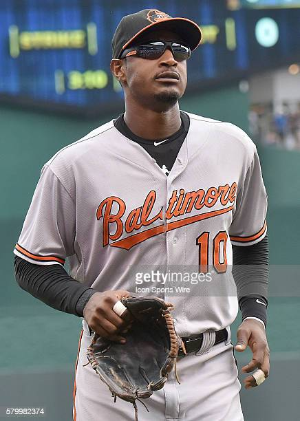 Baltimore Orioles' centerfielder Adam Jones during a Major League Baseball game between the Baltimore Orioles and the Kansas City Royals at Kauffman...