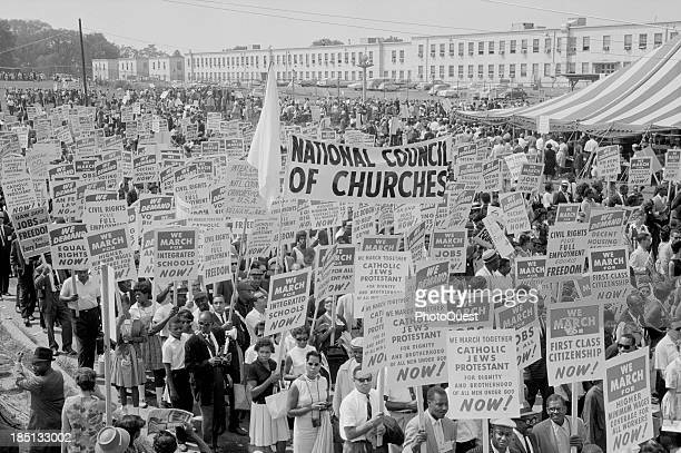 August 28 1963 Marchers signs and tent at the March on Washington 1963