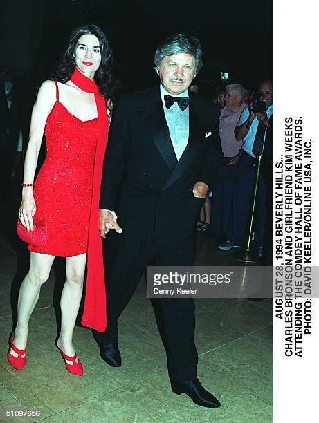 August 28 1994 Beverly Hils .. Charles Bronson And His Girlfriend Kim Weeks At The Comedy Awards At The Beverly Hilton Hotel.