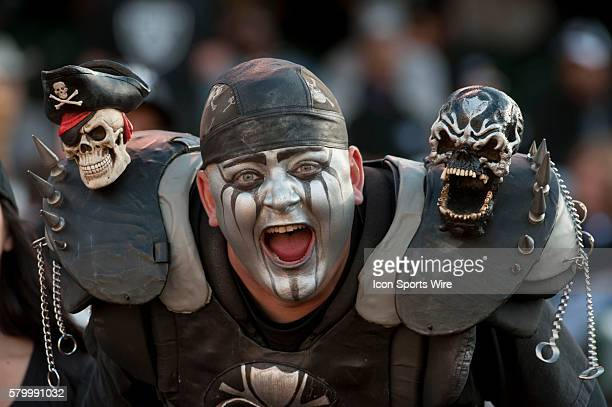 Skull Man roots for the Raiders on Saturday August 28 2010 at Alameda County Coliseum in Oakland California The 49ers defeated the Raiders 2824 in a...
