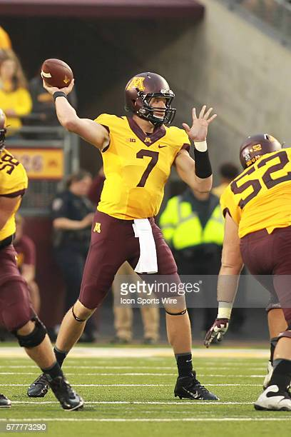 August 28 2014 Gophers quarterback Mitch Leidner back to throw during the first quarter at the Minnesota Gophers game versus Eastern Illinois...