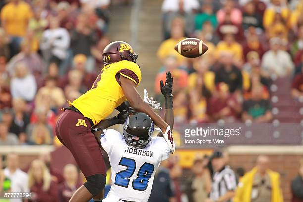 August 28 2014 Gophers wide receiver Donovahn Jones goes up over Panthers defensive back Antoine Johnson to break up a pass intended for him at the...