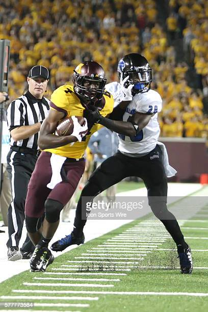 August 28 2014 Panthers defensive back Antoine Johnson tackles Gophers wide receiver Donovahn Jones during the second half at the Minnesota Gophers...