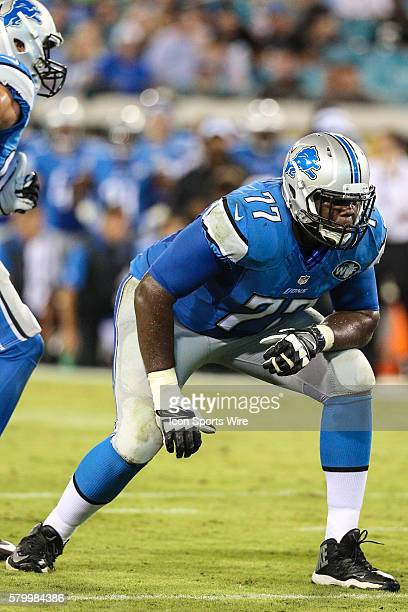 Detroit Lions tackle Cornelius Lucas 77 during the preseason game between the Jacksonville Jaguars and the Detroit Lions at Everbank Field in...