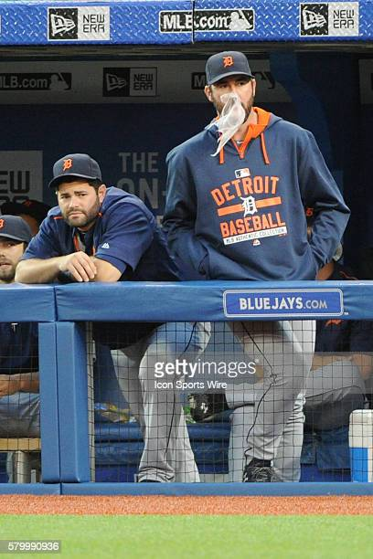 Detroit Tigers Starting pitcher Justin Verlander had a bubble gum malfunction as Detroit Tigers Catcher Alex Avila [7268] looks on in the dugout...