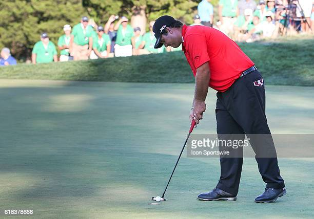 Patrick Reed sinks a putt on 18 finishing 9 under par to win the Barclays on the Black Course Bethpage State Park in Farmingdale NY