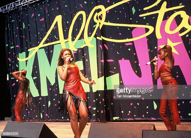 VIEW CA August 28 Beyonce Knowles and Destinys Child performing at KMEL Summer Jam 1998 at Shoreline Amphitheater Event held on August 28 1998 in...
