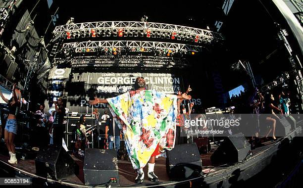 August 28 George Clinton and the P Funk All Stars performing at Lollapalooza 1994 at Shoreline Amphitheater. Event held on August 28, 1994 in...