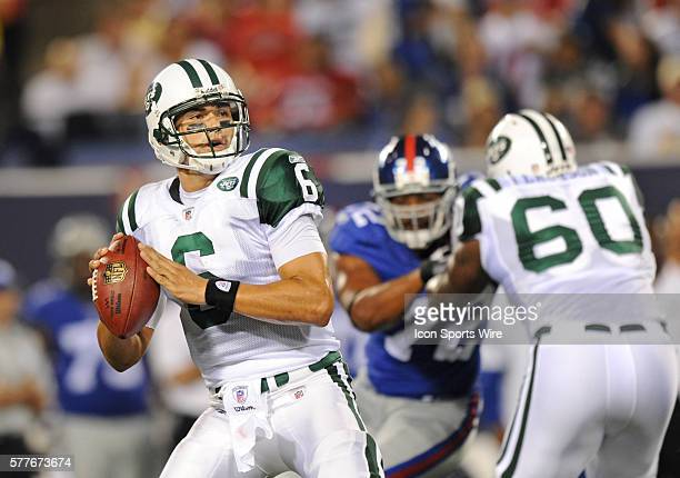 NY Jets Vs NY Giants preseason game at Giants Stadium in East Rutherford NJ NY Jets quaterback Mark Sanchez throws during the first half