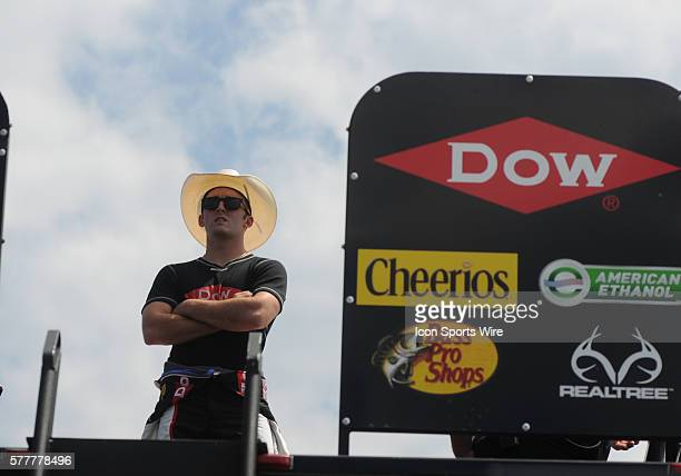 Sprint Cup Series Rookie Austin Dillon Richard Childress Racing Dow Chemicals/ Chevrolet SS watching action during practice for the OralB USA 500 at...