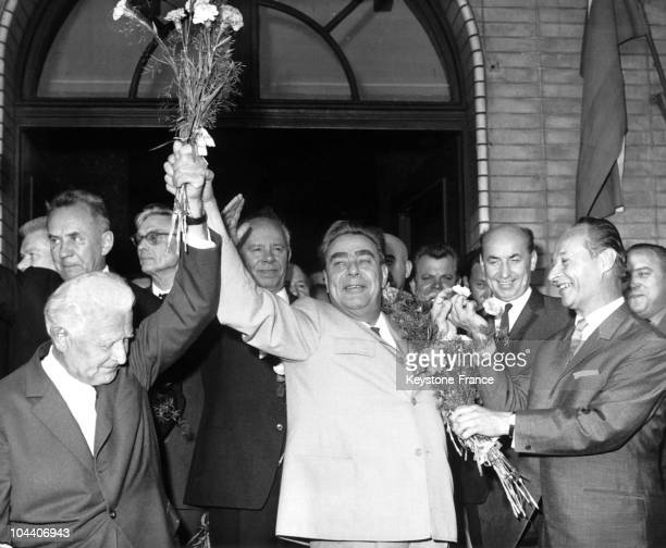 August 2nd 1968 at the Bratislava station in Czechoslovakia the soviet delegation comes for the summit of the communist party in the foreground from...