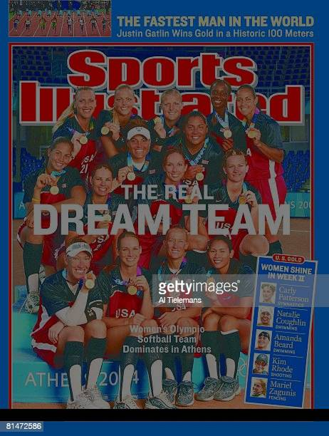 August 30, 2004 Sports Illustrated via Getty Images Cover, Softball: 2004 Summer Olympics, Portrait of Team USA victorious on stand after winning...