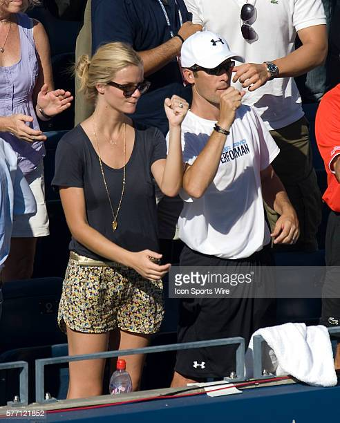 US Open Day 1 Day Session Flushing NY Supermodel Brooklyn Decker wife of tennis superstar Andy Roddick cheers him on and pumps her fist after Roddick...