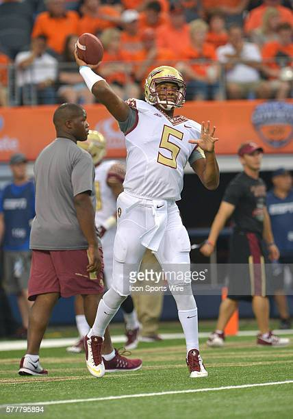 Florida State Seminoles quarterback Jameis Winston warming up before the Cowboys Classic Florida State at Oklahoma State at ATT Stadium in Arlington...