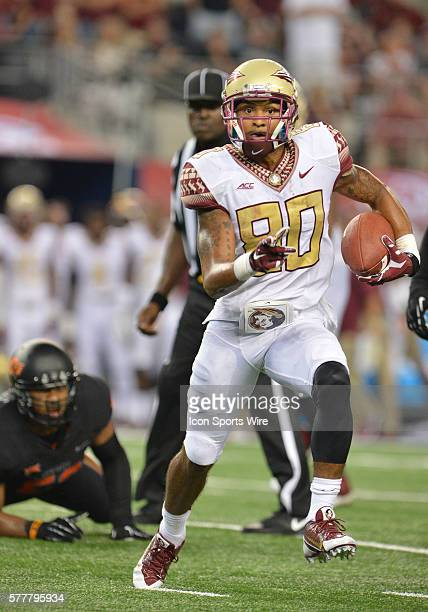 Florida State Seminoles wide receiver Rashad Greene carries the ball during the Cowboys Classic Florida State at Oklahoma State at ATT Stadium in...