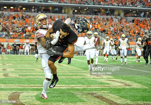 Oklahoma State Cowboys wide receiver Marcell Ateman miss the catch against Florida State Seminoles defensive back PJ Williams during the Cowboys...