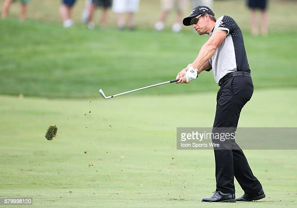 Henrik Stenson shoots from the fairway on the 9th hole during the final round of the The Barclays at Plainfield Country Club in Edison NJ