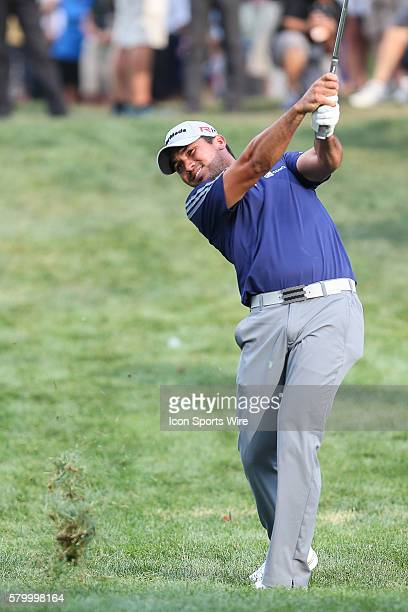 Jason Day hits the ball out of the rough on the 17th fairway during the final round of the The Barclays at Plainfield Country Club in Edison NJ