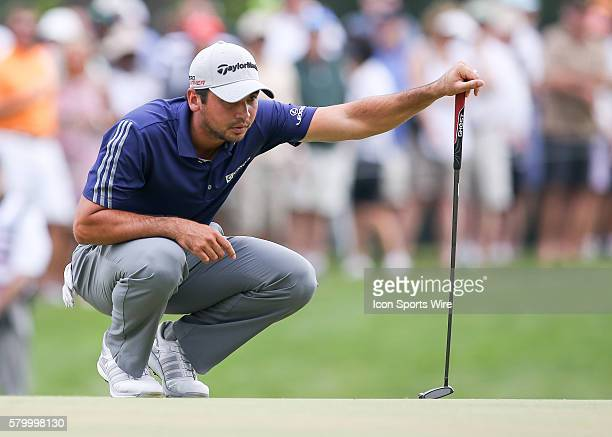 Jason Day prepares to putt on the 5th green during the final round of the The Barclays at Plainfield Country Club in Edison NJ