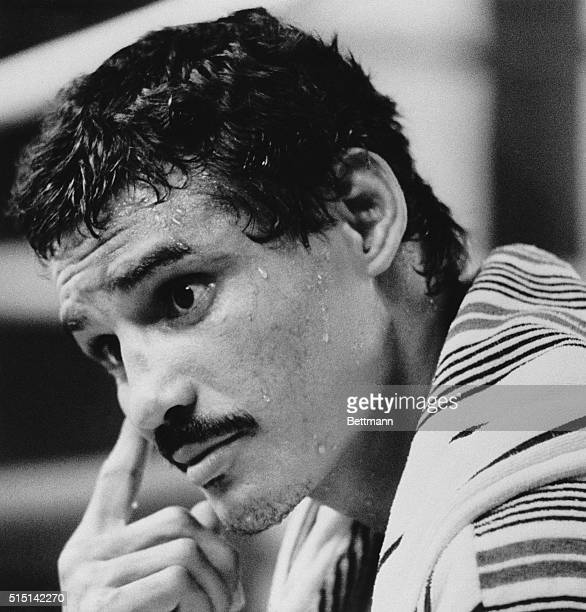 August 31 1983Las Vegas Nevada Threetime world champion Alexis Arguello looks thoughtful as he takes a break from training August 30th at Caesars...