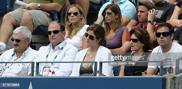 Roger Federer's father Robert manager Tony Godsick wife Mirka Federer mother Lynette Federer and Severin Luethi during Day 1 of the 2009 US Open at...