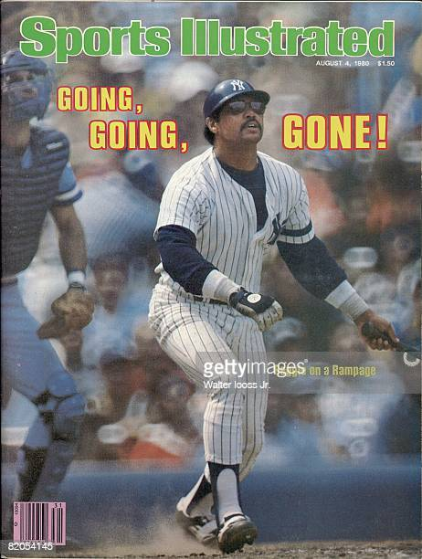 Baseball New York Yankees Reggie Jackson in action at bat vs Kansas City Royals Bronx NY 7/18/1980 CREDIT Walter Iooss Jr