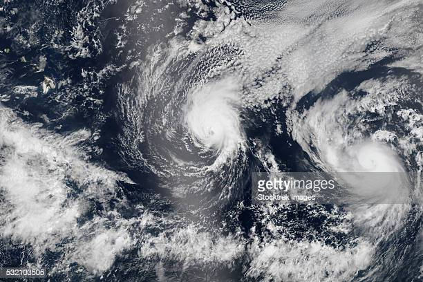 August 4, 2014 - Hurricane Iselle and Hurricane Julio over the Pacific Ocean.