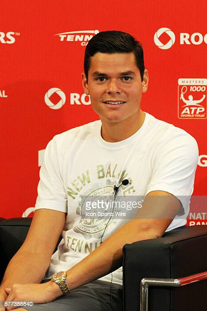 Milos Raonic takes questions at a press conference prior to the first round of the ATP Rogers Cup at Rexall Centre in Toronto ON