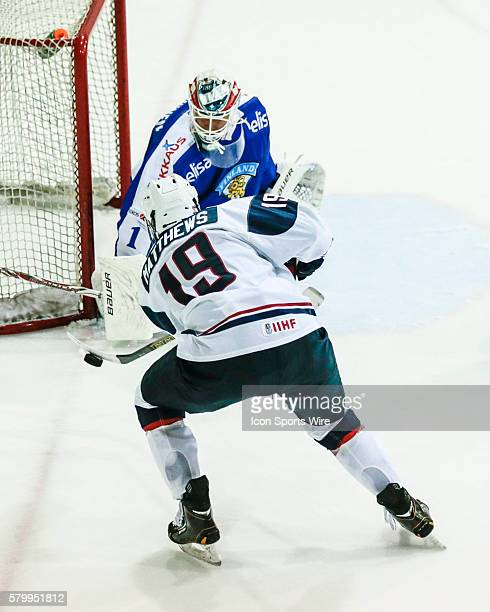 Hockey forward, Auston Matthews , shoots during exhibition win over Finland during USA Hockey Junior Evaluation Camp at Herb Brooks Arena in Lake...