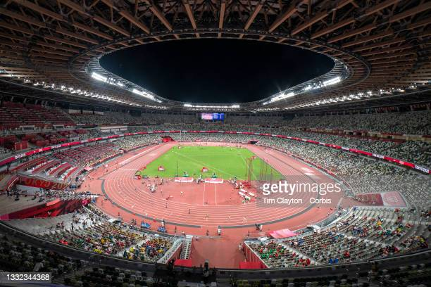 August 4: A general view inside the Olympic Stadium as the 400m semi finals for women take place on the track during the Track and Field competition...