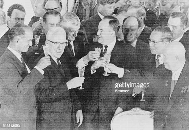 August 5 1963 Moscow Dignitaries enjoy champagne toast after signing of nuclear test ban agreement by the US Great Britain and the Soviet Union in...