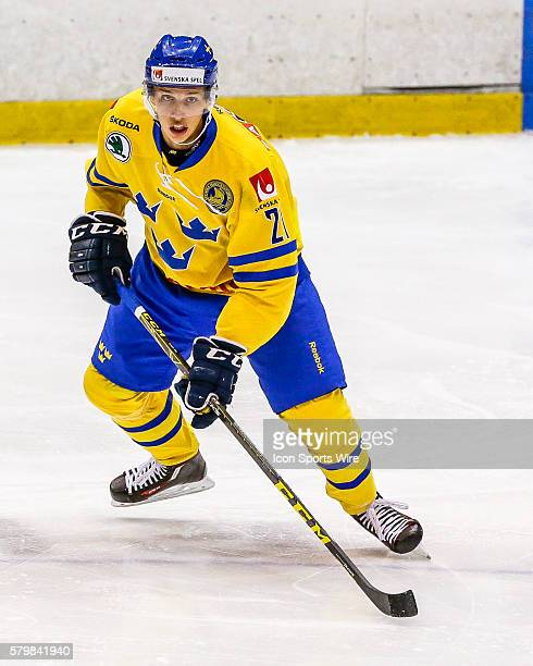 Team Sweden F, Lukas Vejdemo , prepares to receive puck during 5-2 exhibition win over Team USA during USA Hockey Junior Evaluation Camp at Herb...