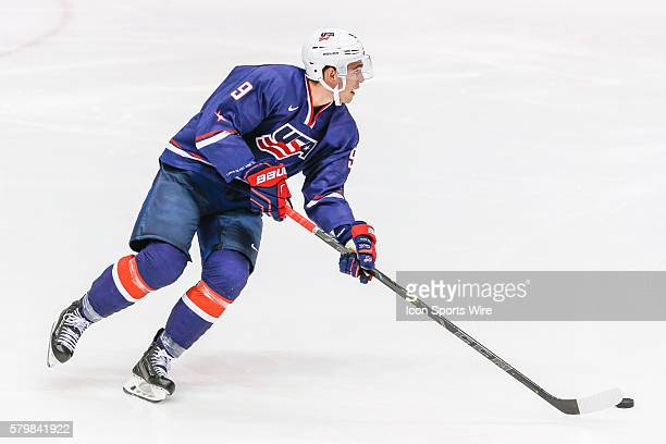 Hockey F, Dominic Turgeon , skates with the puck during 5-2 exhibition loss to Sweden during USA Hockey Junior Evaluation Camp at Herb Brooks Arena...