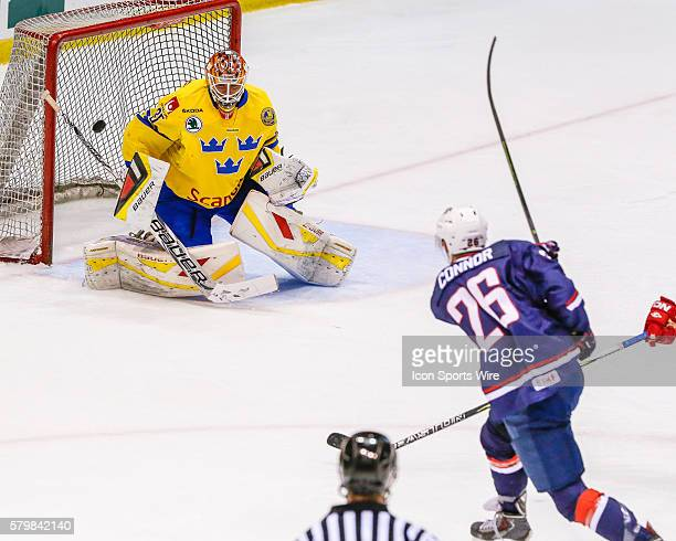 Hockey F, Kyle Connor , takes shot against Team Sweden G, Felix Sandstrom , during 5-2 exhibition loss to Sweden during USA Hockey Junior Evaluation...