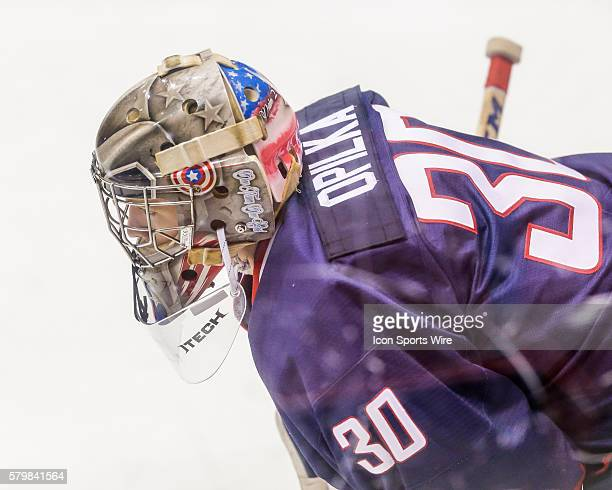 Hockey G, Luke Opilka , skates prior to 5-2 exhibition loss to Sweden during USA Hockey Junior Evaluation Camp at Herb Brooks Arena in Lake Placid,...