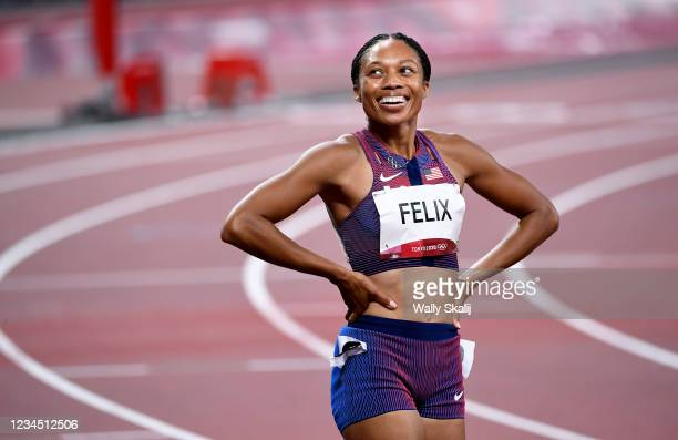 August 6, 2021: USAs Allyson Felix smiles after winning the bronze medal in the 400m race at the 2020 Tokyo Olympics.