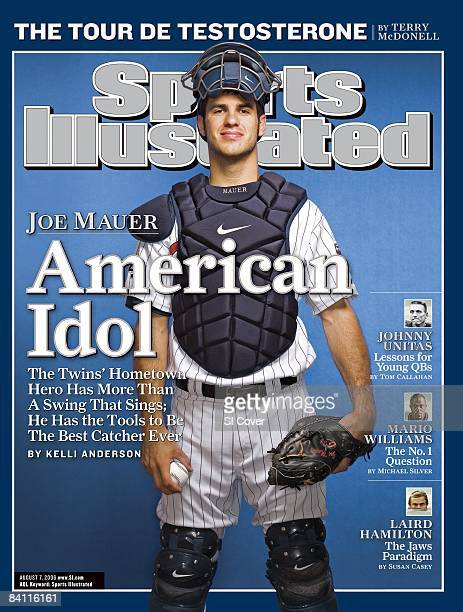 August 7 2006 Sports Illustrated via Getty Images Cover Baseball Portrait of Minnesota Twins catcher Joe Mauer at Hubert H Humphrey Metrodome...
