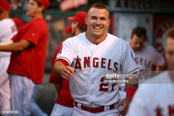 Los Angeles Angels of Anaheim Center field Mike Trout [7281] is all smiles after hitting a homer on his birthday in the game between the Baltimore...